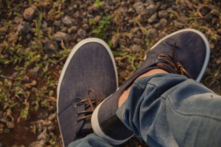 Low section of person wearing shoes on lawn