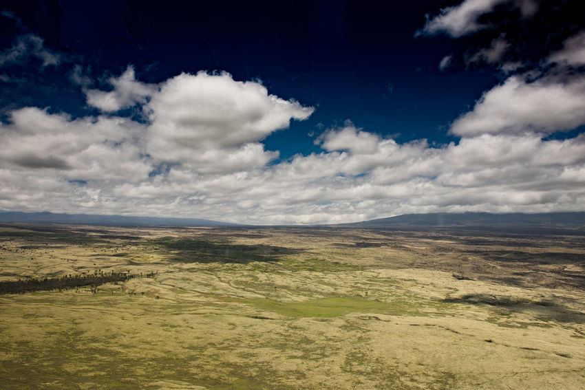Hawai'i is a very sparsely populated state, and the Big Island has even more open space than the other inhabited islands, as seen in this wide open grassland, under a deep blue sky punctuated by small fluffy clouds, with no sign of human existence. Beautiful Nature Big Island Grass Hawaii Land Peace Sparse USA Aerial View America Beauty In Nature Blue Sky Cloud - Sky Cloud Shadows Empty Field Grassland Isolation Landscape Nature Outdoors Sky Tranquil Scene Tranquility Wide