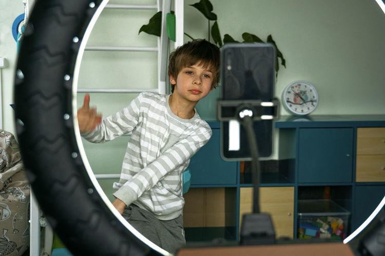 Portrait of boy playing