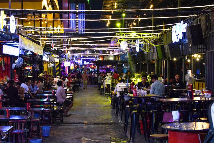 Container night market, Phnom Penh Lights Night Pub City Illuminated Market Men Architecture Built Structure Street Market Adventures In The City