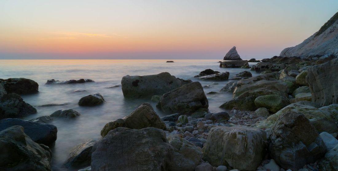 Seashore Colorful Sky Rock - Object Rocks Sea Sea And Sky Seascape Seaside Sun