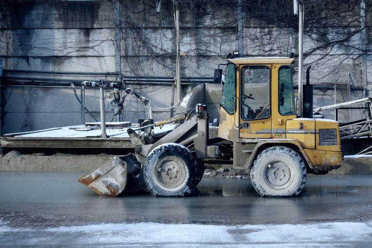 Bulldozer on street
