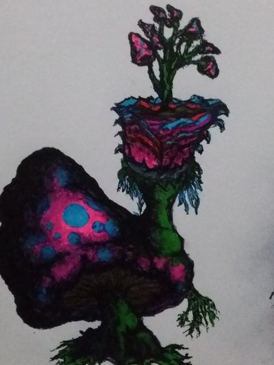 Tree Art And Craft Creativity Reflection Growth Multi Colored Decoration Outdoors Sky Green Color Painted Image No People Symbol Sketch Pen And Ink Drawing Art From Another View Art Creativity Sharpie Art 92781