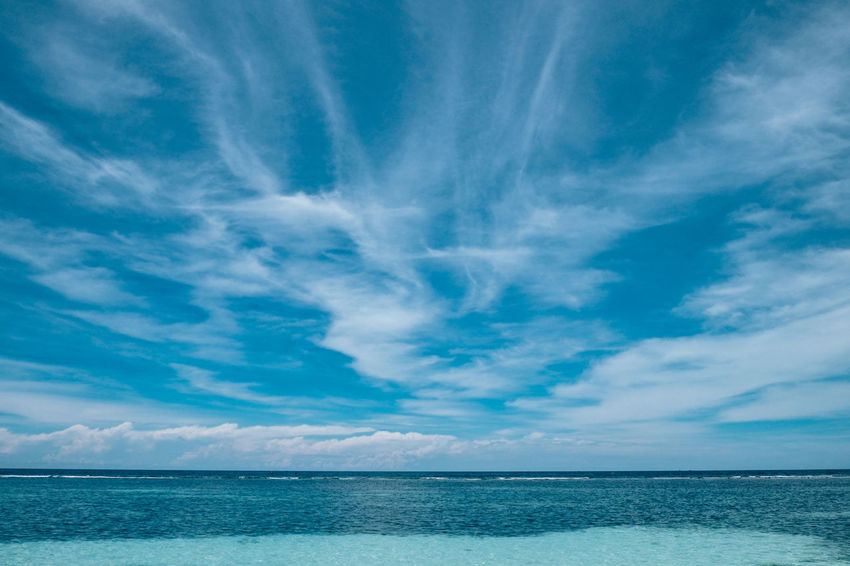 Beach Beauty In Nature Blue Clear Water Cloud - Sky Day Horizon Over Water Nature No People Outdoors Scenics Sea Sky Water Wave Cirrus Altostratus Stratus