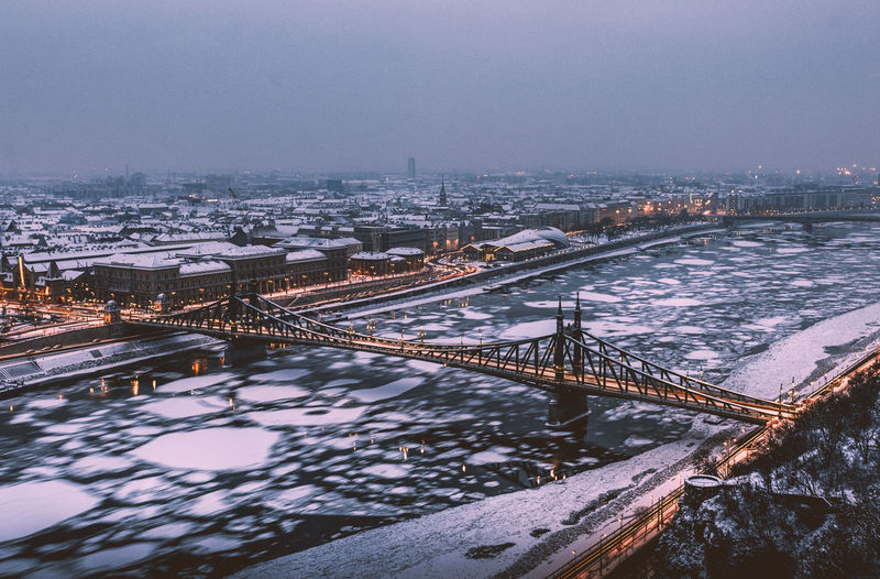 Architecture Bridge - Man Made Structure Budapest Building Exterior Built Structure Chain Bridge City Cityscape Cold Temperature Connection Danube Ice Liberty Bridge Nature No People Outdoors Rail Transportation River Sky Snow Szabadság Híd Tourist Attraction  Transportation Water Winter