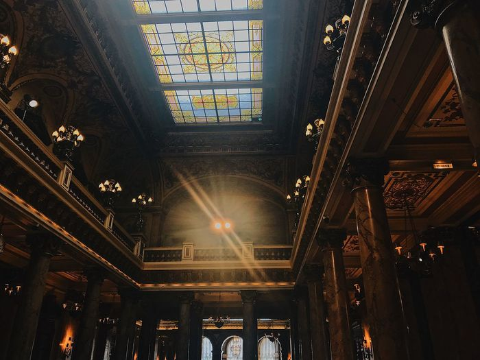 Architectural Column Architecture Architecture And Art Arts Culture And Entertainment Belief Building Built Structure Ceiling Day Electric Lamp Hanging Illuminated Indoors  Lens Flare Light Lighting Equipment Low Angle View No People Skylight Spirituality Streaming Sunbeam Sunlight Travel Destinations