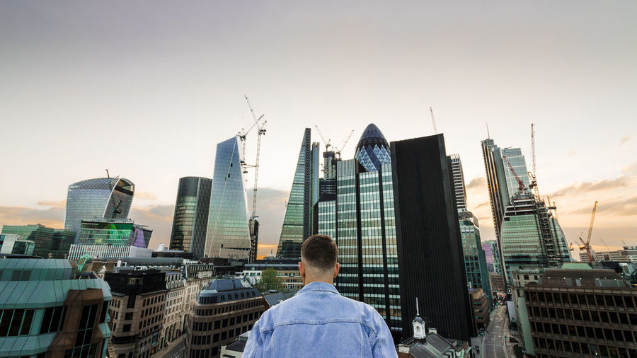 See your city from different perspective London City Of London Rooftopping Men Sunset Exploring Skyscrapers Sky Lithuanian View City Cityscape Urban Skyline Skyscraper Modern Sky Office Building Financial District  Building