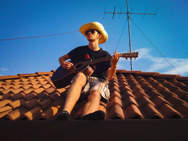 Music Guitar House Sky Outdoors One Person Singer  Playguitar