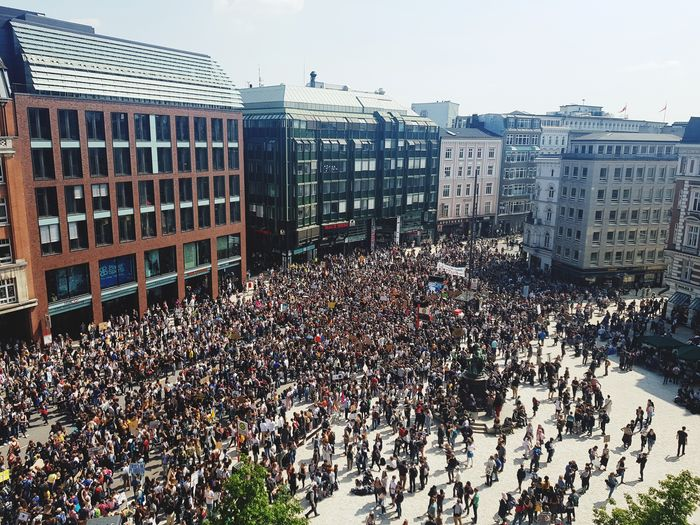Friday for Future Fridayforfuture Friday Future Change Protest Hamburg May Gänsemarkt City Cityscape Skyscraper Urban Skyline Crowd Modern Sky Architecture Building Exterior Built Structure