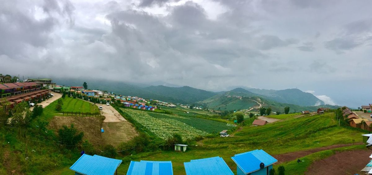 Panorama shot of hillside Sky Scenics - Nature Cloud - Sky Mountain Landscape Beauty In Nature Environment Mountain Range Nature Day Tranquility Tranquil Scene Land Building Built Structure Tree No People Architecture Plant Rural Scene