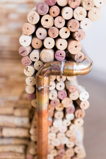 Close-up of stack of wood