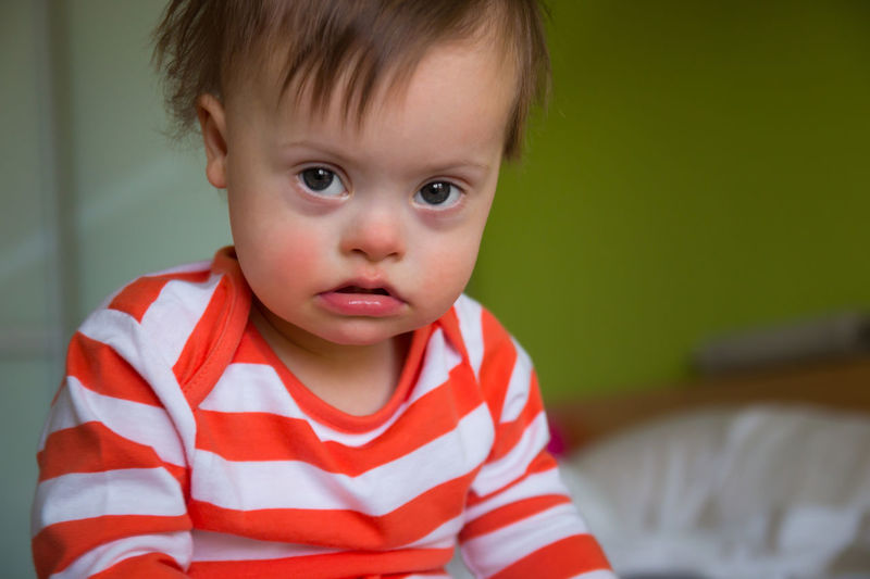 Babyboy Boys Childhood Close-up Cute Day Down Syndrome Downsyndrome Front View Illness Indoors  Innocence Lifestyles Looking At Camera Mental Health  One Person People Portrait Real People