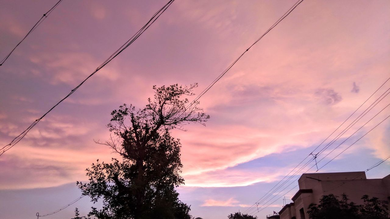 sky, cloud - sky, cable, sunset, tree, building exterior, low angle view, power line, nature, architecture, electricity, silhouette, built structure, no people, plant, beauty in nature, technology, power supply, outdoors, connection, telephone line