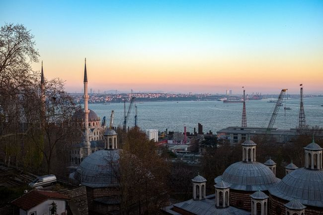 Sunset Sky City Dusk Travel Destinations No People Cityscape Türkei Istanbul Turkey Ottoman Empire History Islam Türkiye Nautical Vessel People Clear Sky City Transportation TophaneiAmire Tophane Architecture