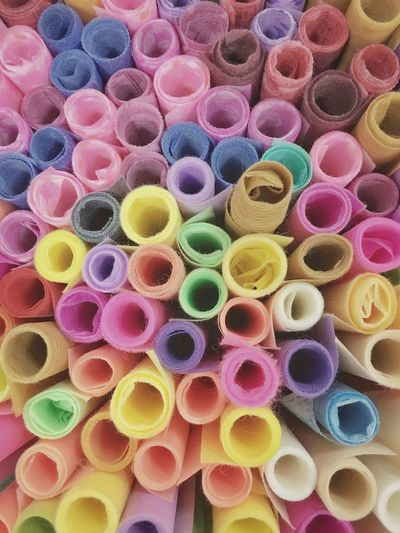 Colorful mulberry paper rolls. Mulberry Paper Roll Paper Multi Colored Backgrounds Choice Large Group Of Objects Variation Full Frame No People High Angle View Pattern