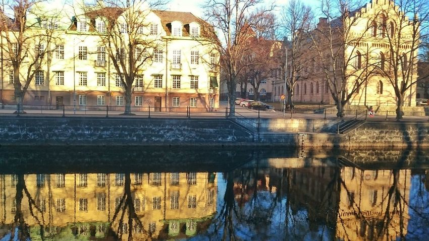 Reflection Water Built Structure Tree Building Exterior Architecture Waterfront Outdoors No People Reflection River Gavleån Nature Day Sky Beauty In City