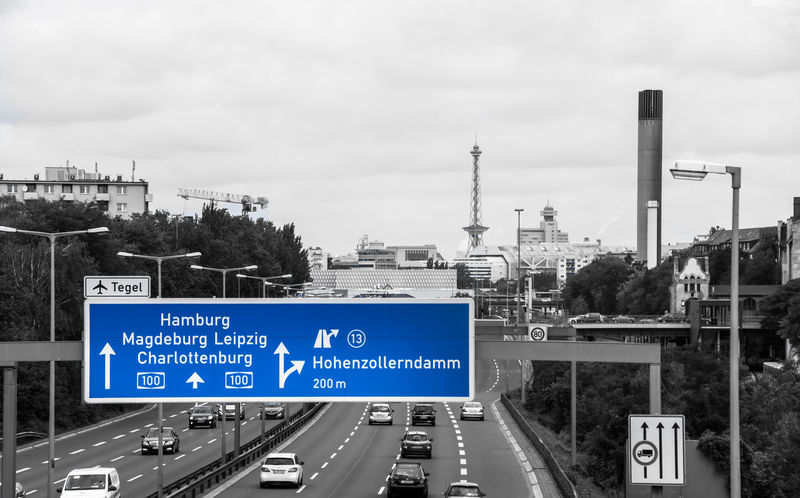 A100 Autobahn Blau Blue City City Life City Life Cloud - Sky Directional Sign Funkturm Highway Hohenzollerndamm Information Information Sign Keycolor No People Road Road Sign Schild Sign Stadtautobahn The Way Forward Traffic Travel Destinations Krull&Krull Images Colorkey