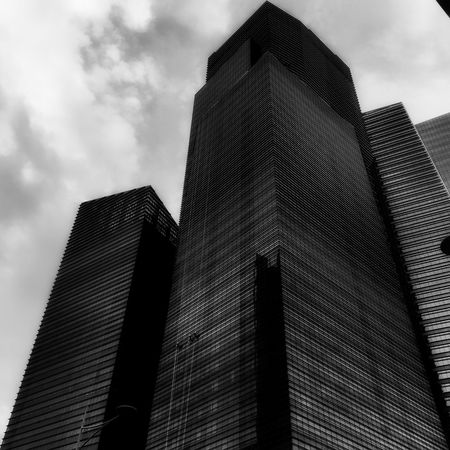 Low Angle View Built Structure Tall - High Tower Office Building City Cloud Architectural Feature Skyscraper Blackandwhite Blackandwhite Photography Black & White Black And White Photography