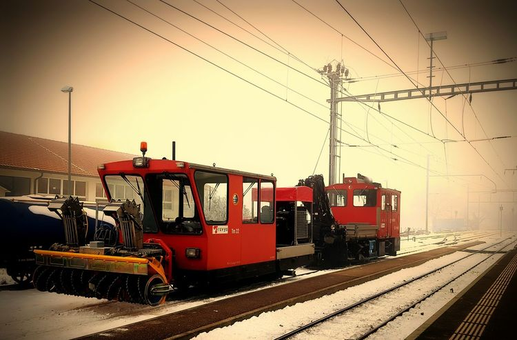 Transportation Mode Of Transport Red Travel Sky Land Vehicle No People Sunset Built Structure Rail Transportation Travel Destinations City Connection Outdoors Day