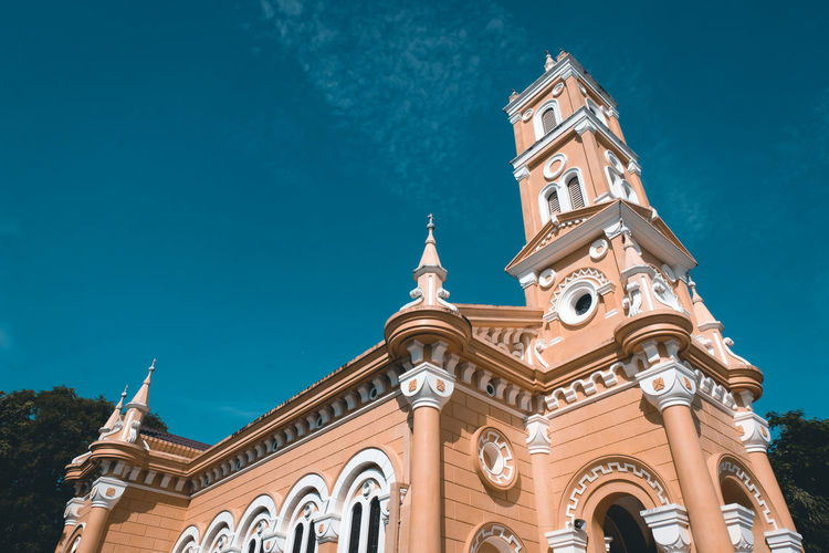 Church Architecture Church Tower Church Buildings Building Exterior Built Structure Building Low Angle View Sky Religion Blue Belief No People Place Of Worship The Past Nature Spirituality Ornate Tower History Clock Day Thailand Travel Photography