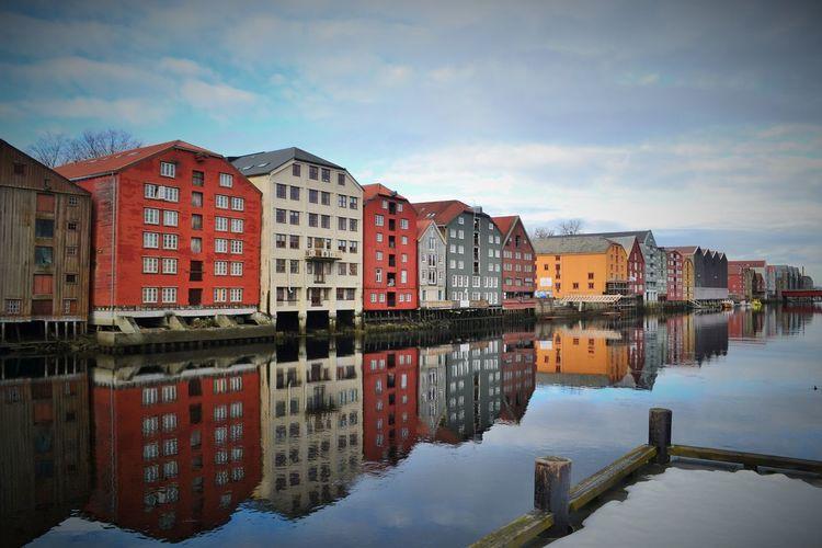 Winter Trondheim Gamlebybro Colour Houses Colors Riverside Channel Scandinavia Norway