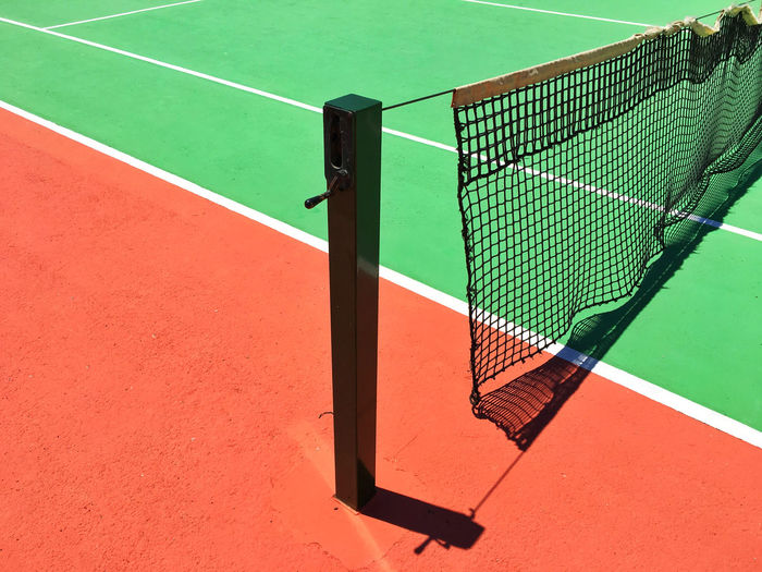 Close-up of net on playing field