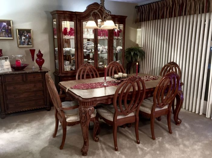 Dining Room Absence Chair Chairs China Cabinet Day Dining Room Domestic Room Empty Furniture No People Seat Table