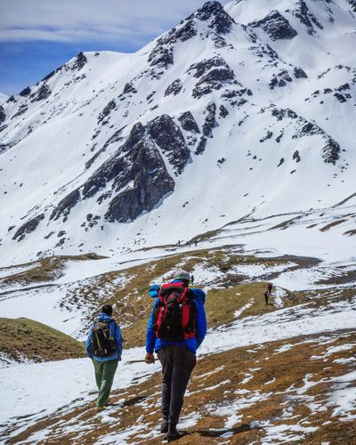 Lets trek. Sar Pass, India. Snow Cold Temperature Winter Mountain Snowcapped Mountain Nature Day Mountain Range Beauty In Nature Adventure Landscape Outdoors Scenics Hiking One Person Lifestyles Real People Full Length Vacations Adult Let's Go. Together.