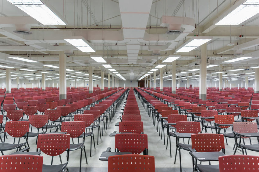 Absence Auditorium Chair Day Empty In A Row Indoors  Large Group Of Objects Lecture Hall No People Red Seat