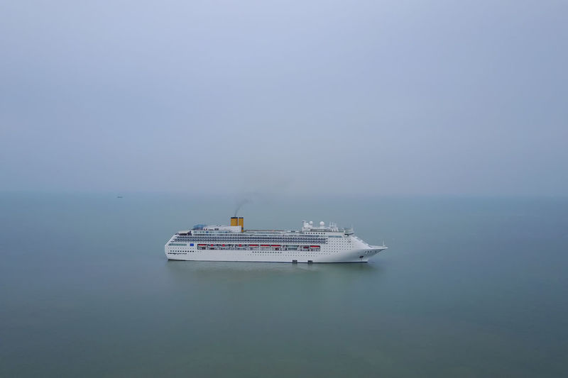 luxury ship for tourist Cruise Ship Beauty In Nature Day Horizon Over Water Mode Of Transport Nature Nautical Vessel No People Outdoors Sailing Scenics Sea Ship Sky Transportation Water