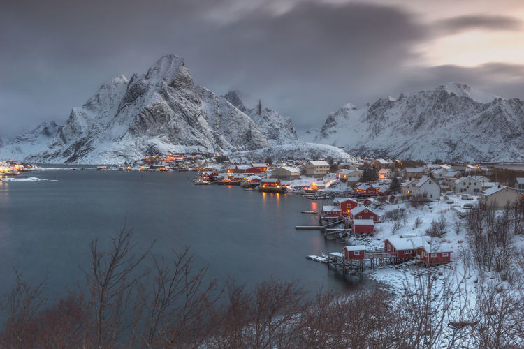 Moskenes, Lofoten, Norway Fjordsofnorway Lofoten Islands Architecture Beauty In Nature Built Structure Cloud - Sky Cold Temperature Fjord Lake Lofoten Mountain Mountain Range Nature Nautical Vessel No People Outdoors Scenics - Nature Sky Snow Snowcapped Mountain Tranquil Scene Tranquility Transportation Water Winter