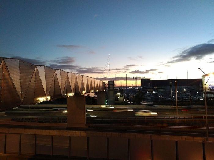 Urban Skyline Sunrise Bridge Morning