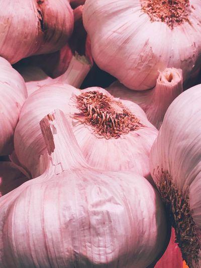 Full frame shot of garlics for sale in market