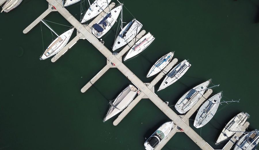 Transportation Taking Pictures Outdoors Directly Above Looking Down Lake Water Dronephotography DJI Mavic Pro Aerial Taking Photos Australia Aerial View Ship Dock Pier Jetty Sea Boats Nautical Vessel Boat EyeEm Selects No People High Angle View Close-up Architecture Built Structure Shape White Color Green Color