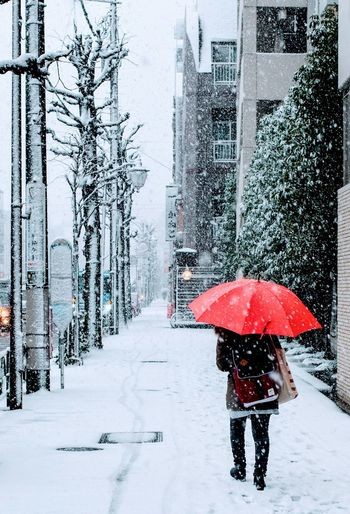 Person walking on snow covered street during rainy season