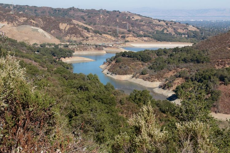 Hike during Science Camp on Zinfandel trail in Cupertino with view down to Stevens Creek Reservoir. Water Nature Beauty In Nature Scenics Mountain Outdoors Tree No People Day Landscape Salt - Mineral (null)California Cupertino USA