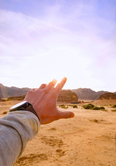 Jordan Wadi Rum Desert Hand Sunset_collection Sunset Travel Destinations Travel EyeEm Best Shots EyeEmNewHere EyeEm Gallery EyeEm The Week On EyeEm EyeEm Nature Lover Human Hand Human Body Part Desert Sand Arid Climate Nature Mountain Outdoors Day One Person Landscape Sky One Man Only Close-up Adult Sand Dune People Adults Only Only Men Young Adult