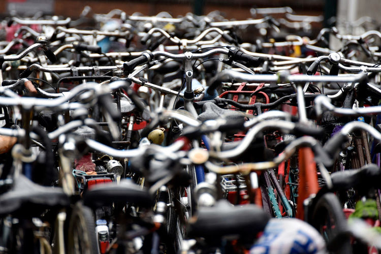High angle view of bicycles in parking lot