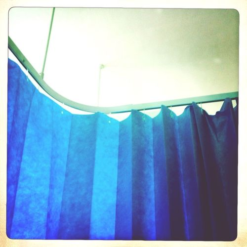 Eye4photography  My View Last Week Hospital Ward No People Colour Hospital Life London Still Life Stillife Nopeople Blue Looking Up Lifestyle London Lifestyle Indoorshot Indoors  Indoor Photography Curtain Hospital Curtain