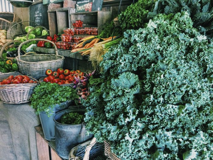 Various Vegetables For Sale On Market Stall