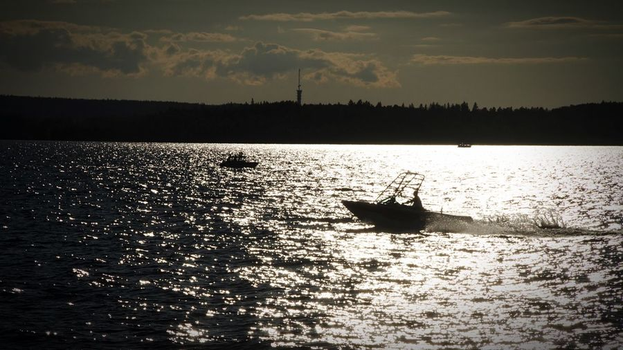 Motorboats Motorboat Boat Summer Sun Water Lake Näsijärvi Suomi Finland Tampere Silhouette The Essence Of Summer The Great Outdoors - 2017 EyeEm Awards Live For The Story