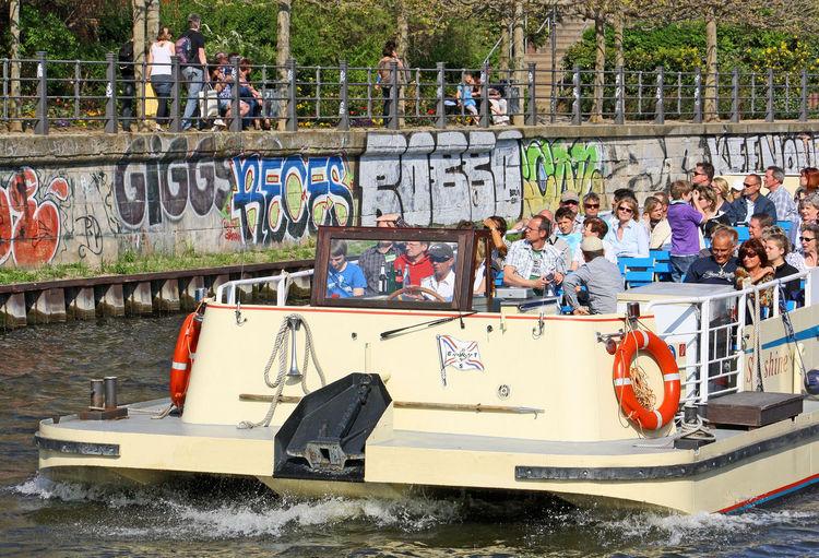 A Taste Of Berlin River Spree Berlin Berlin Wall Graffiti Day Large Group Of People Men Nautical Vessel Outdoors People Real People Tourist Boat Trip Transportation Wall Graffiti Water Your Ticket To Europe Berlin Love #FREIHEITBERLIN