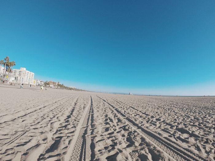 Scenic View Of Santa Monica Beach Against Clear Blue Sky