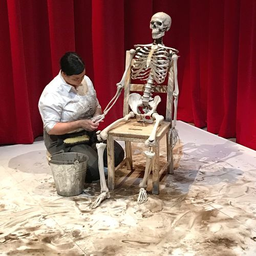 Performance Marina Abramović Taking Care Skeleton Red One Man Only Working One Person Only Men Full Length Sitting Adults Only Men Adult Indoors  Statue Day People