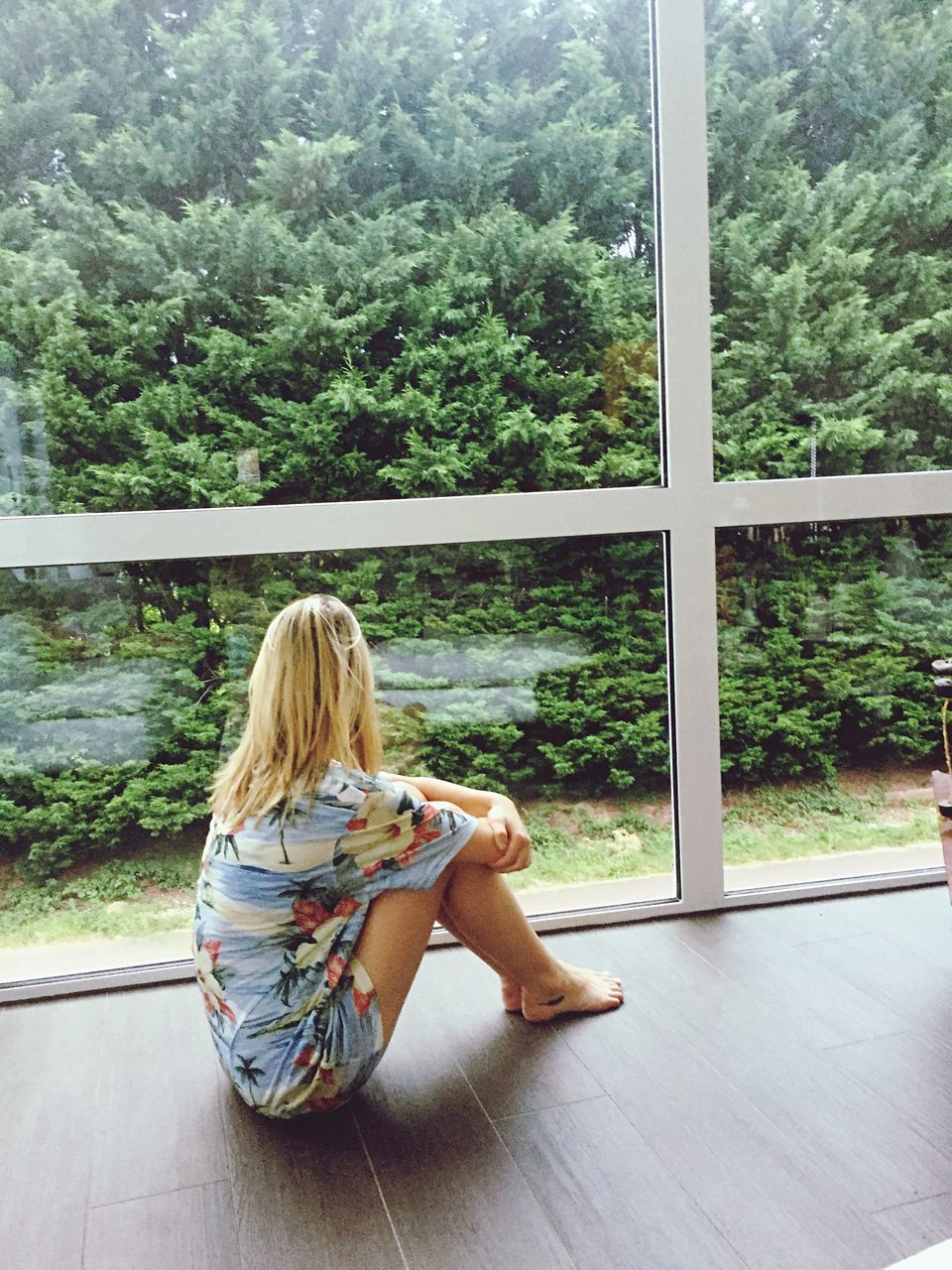 window, full length, blond hair, tree, one person, sitting, day, indoors, real people, young women, young adult, nature, people