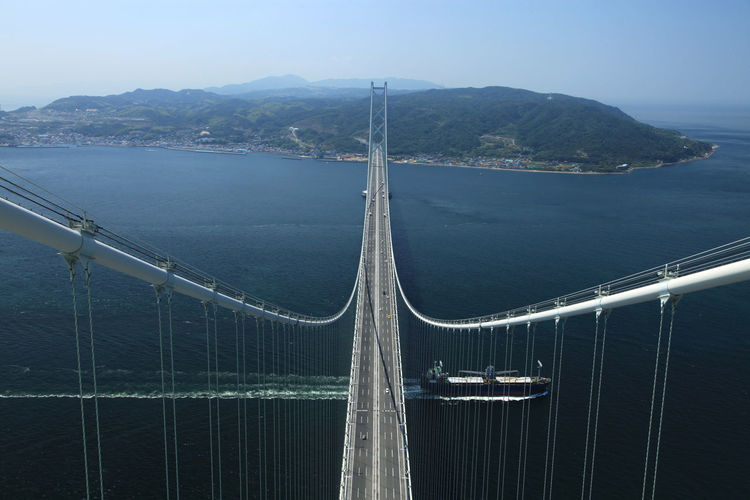 bridge in japan Architecture Bay Beauty In Nature Bridge Bridge - Man Made Structure Built Structure Connection Day Mode Of Transportation Mountain Nature Nautical Vessel No People Outdoors Railing Sailboat Sailing Sea Sky Transportation Travel Water