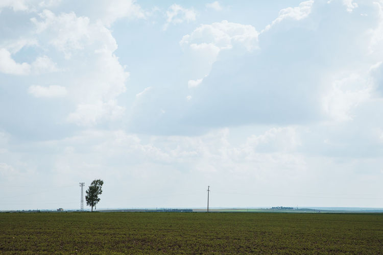 Cloud - Sky Sky Environment Beauty In Nature Landscape Land Tranquil Scene Field Scenics - Nature Tranquility Plant Day Nature No People Horizon Horizon Over Land Tree Non-urban Scene Grass Outdoors
