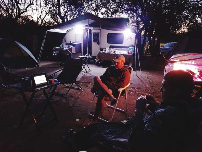 People sitting at night