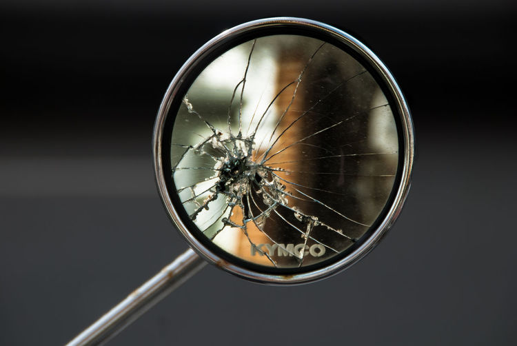 Broken Mirror Circle Close Up Crack Moped Moped Mirror Reflection Selective Focus