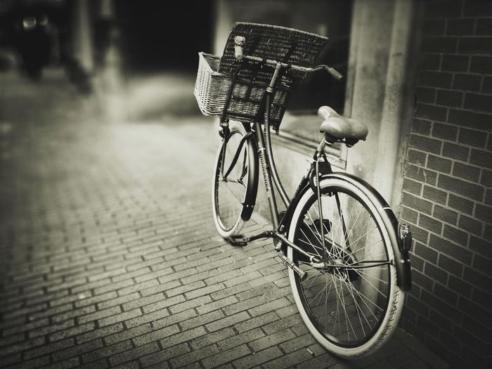 ᴰᵁᵀᶜᴴ ᴮᴵᴷᴱ The Street Photographer - 2017 EyeEm Awards Bicycle Basket Transportation Outdoors No People Land Vehicle Day Bicycle Basket Stationary Bicycle Rack Tadaa Community Tadaa Friends Monochrome Monochrome Photography Blackandwhite Black And White Blackandwhite Photography Bike Depth Of Field Focus On Foreground Shootermag Selective Focus City Urban Mobility In Mega Cities